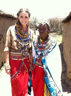 Olivia and Margaret at the homes of the Pikolinos Maasai women. Click the picture to purchase a pair of Pikolinos shoes made by the Masa Mara women!