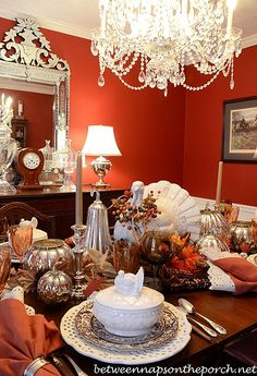 Thanksgiving Tablescape with Turkey Centerpiece and Turkey Tureens 2
