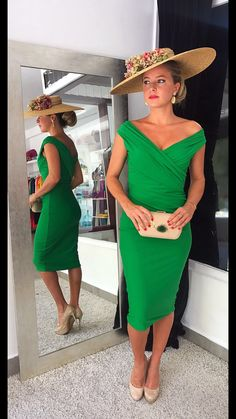 This time in green # dress # valentina # dress party # guest … Tea Party Outfits, Derby Outfits, Outfits With Hats, Cool Outfits, Kentucky Derby Outfit, Kentucky Derby Fashion, Races Fashion, Fashion Outfits, Races Outfit