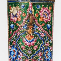 Khanjar Dagger with Sheath • Dated: 19th century • Culture: Persian, Qajar • Medium: steel, gold, gemstone, copper, enamel, wood • Measurements: H. with sheath 17 1/16 in. (43.3 cm); H. without sheath...