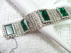 HUGE Vintage Clear/ Emerald GREEN RHINESTONE by ElegantiTesori