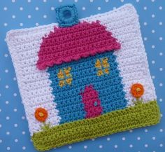 Home Sweet Home Potholder      ♪ ♪ ... #inspiration_crochet #diy GB