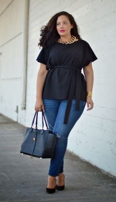 One of my easy go-to looks. Love that I can translate the original pincers comments. 'Ta bom!   Copie o look de uma Garota com Curvas - Moda Plus Size