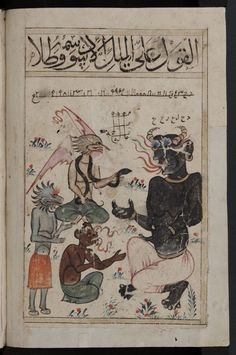 The Jinn, commonly referred to by the Romanized Djinn or Anglicized genies, are supernatural creatures found in early Arabian mythology. Will Turner, Arabian Nights, Illuminated Manuscript, Art Plastique, Black Magic, Mythical Creatures, Islamic Art, Tarot, History