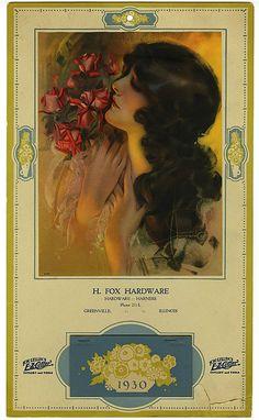 C. 1930 H. Fox Hardware Advertising calendar