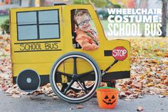 Wheelchair Halloween Costume: Creating a Yellow School Bus costume for little wheelchair users.