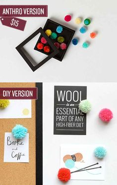 Craft a set of pom-pom thumbtacks. | 38 Anthropologie Hacks