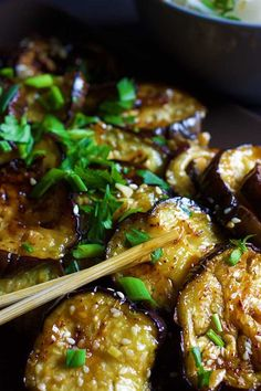 chinese eggplant with sticky garlic sauce This recipe for Chinese eggplant with garlic sauce is one of my favorite ways of cooking eggplant! Give it a try and enjoy it with a side of rice or rice noodles. Cooking Eggplant, Eggplant Dishes, Chinese Eggplant Recipes, Vegetarian Eggplant Recipes, Ways To Cook Eggplant, Eggplant Stir Fry, Spicy Eggplant, Vegetable Recipes, Vegetarian Recipes