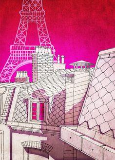 Paris rooftops, by Tubidu