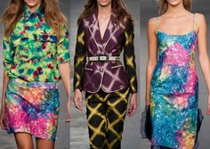 House of Holland S/S 2013- Grunge pop prints – Vibrant hyper colour blotch print effects – Tie-dye effects – Checks and large scale florals – Hip 60′s summer festival prints