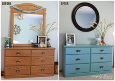 An easy way to update old, ugly laminate furniture with homemade chalk paint {from Simply Bloom Blog}