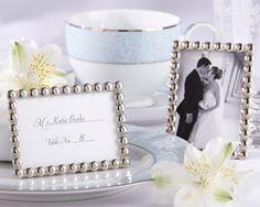 """Silver Pearls"" Mini Photo Frame Wedding Favors at WeddingFavors.org"