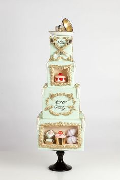 Shadowboxes filled with confections inspired by art  pastry By Nadia and Co
