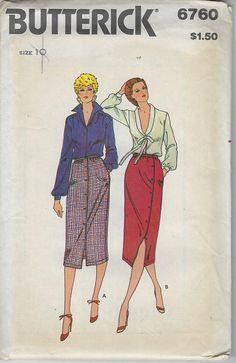 Vintage Butterick Sewing Pattern Front Button Side Button Skirt Misses 6760 Size 10 Uncut Factory Folded 1970s $5.00 #champagnvintagechic #sewing patterns #voguepattern #americandesigner #parisvoguepattern #simplicitypattern #mccallspattern #mailorderpattern #butterickpattern #advancepattern #dress #size #pants #top #skirt #suit