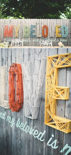 Yarn-Strung Wedding Backdrop, hand-painted typography on reclaimed wood; by Chase Kettle, photo by Jasmine Fitzwilliam #reception #setdesign