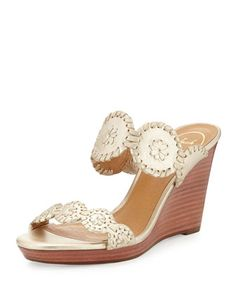 Luccia+Metallic+Wedge+Sandal,+Platinum+by+Jack+Rogers+at+Neiman+Marcus.
