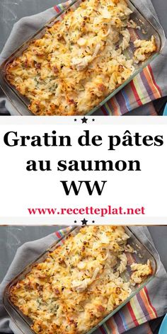 Today, another WW pasta recipe, Here is the recipe for ww salmon pasta gratin, a good pasta dish, quick and perfect to make for a light dinner with a good salad. Casserole Recipes, Meat Recipes, Pasta Recipes, Vegetarian Recipes, Chicken Recipes, Cooking Recipes, Healthy Recipes, Plats Weight Watchers, Weight Watchers Diet