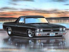 1968 Chevy El Camino SS Muscle Car Art Print 11x14