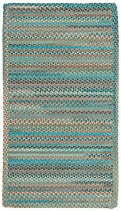 Cross sewn rectangle.  Lake Tahoe.  Taos Blue colorway. Capelrugs.com.  Wool blend.  Many sizes and shapes. Reversible.