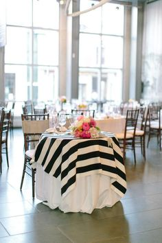 The black and white striped table cloth is a unique and classic take on your reception! Kate Spade Party, Kate Spade Bridal, Black White Parties, Black And White, Baby Shower Table Cloths, Striped Wedding, Wedding Black, Trendy Wedding, Dream Wedding