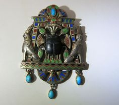 Vintage 18K Gold & Enameled Silver Egyptian Revival Pendant W/ Turquoise & Jet