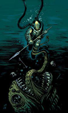 deep sea diver monster - Google Search #scubadiverart