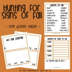 Looking for Signs of Fall: After School Express. Create your own Fall Observation Sheet, Fall Journal and Fall Words from The Educators' Spin On It