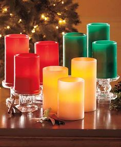 Add a soft glow to your holiday decor with this Set of 3 Scented Flameless Candles. The graduated-size candles add a warm white glow to a room's ambiance as well as a seasonal fragrance. Made of real wax, these candles will make your whole year merry and