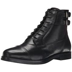 2016 Hot Sale Geox Peaceful Twin Strap Buckle Ankle Boots Women Black Leather FSRLA34