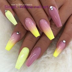 REPOST - - - - Yellow Ombre Pale Mauve and Glitter on long Coffin Nails - - - - Nail Design by m.beauty her for more gorgeous nail art designs! Mauve Nails, Pastel Nails, Acrylic Nails, Glitter Nails, Yellow Nails Design, Yellow Nail Art, Winter Nail Designs, Nail Art Designs, Sunflower Nails