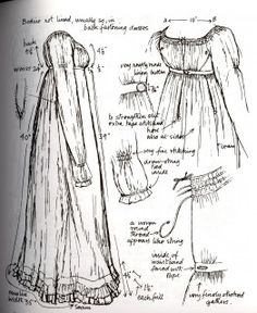 Regency From Nancy Bradford's Costume in Detail Regency Dress, Regency Era, Historical Costume, Historical Clothing, Jane Austen, Costume Patterns, Sewing Patterns, Dress Patterns, Vintage Outfits