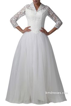 http://www.ikmdresses.com/A-line-Tulle-Wedding-Dress-Lace-Long-Sleeve-Bridal-Gown-Floor-Length-Ball-Gown-p88871
