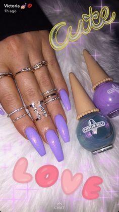 21 Elegant Nail Designs with Rhinestones - Amately Glittery Nails, Purple Nails, Matte Nails, Acrylic Nails, Dope Nails, Get Nails, Nails On Fleek, How To Do Nails, Elegant Nail Designs