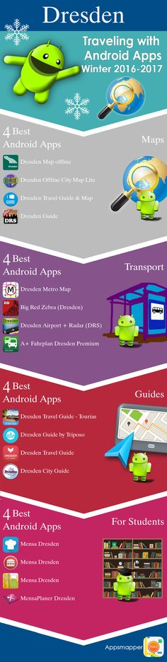 Dresden Android apps: Travel Guides, Maps, Transportation, Biking, Museums, Parking, Sport and apps for Students.