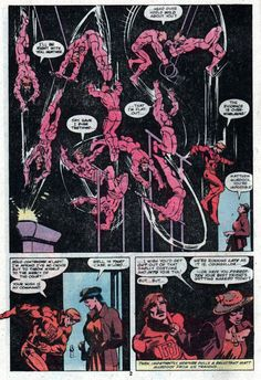 Original hand-painted page by Frank Miller (pencils), Klaus Janson (inks), and Steve Oliff (colors) from Daredevil #166, published by Marvel Comics, September 1980. The colors in the final printed page are by Glynis Wein.