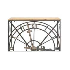 Need a serious statement piece for your entryway? Try this dramatic console table fitted with half of an old-fashioned clock face in antiqued black iron. The natural wood top needs little decoration to balance out its amazing base.