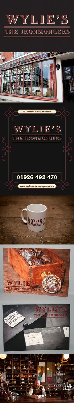 Branding for 'Wylie's, The Ironmongers', a period, premium ironmongery shop in Warwick's town centre. Branding designed by The Usual Studio. #branding #theusualstudio