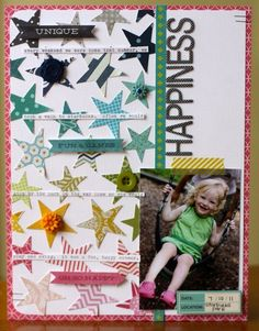 #papercraft #scrapbook #layout    Happiness :: Emily Spahn