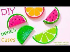 DIY Pencil Cases FRUITS (Watermelon, Lemon, Kiwifruit) – NO SEW DIY School Supplies - YouTube
