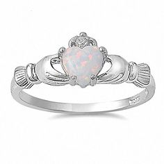 Sterling Silver 0.765ct Heart cut Synthetic Fiery White opal Claddagh Ring, Fidelity (sizes 4-10.25) 009-0798 on Etsy, $26.00
