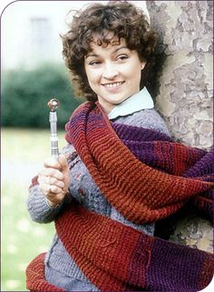 Janet Fielding aka Tegan Jovanka, a companion of the Fourth Doctor, played by Tom Baker, and the Fifth Doctor, played by Peter Davison. Fifth Doctor, Good Doctor, Eleventh Doctor, Doctor Who Cosplay, Doctor Who Knitting, Peter Davison, Burgundy Scarf, Doctor Who Companions
