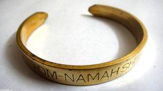 """Om Namah Shivay Cuff Bracelet Wristlet Kada Kara - Length 9""""- Antique Gold Color"""
