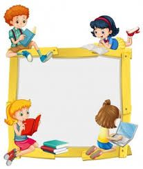 Illustration of Border design with kids reading and doing homework illustration vector art, clipart and stock vectors.