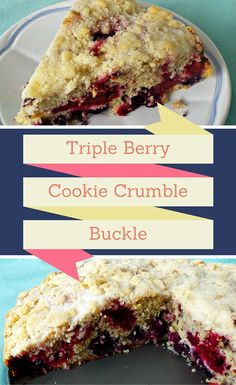 Triple Berry Cookie Crumble Cake-Three type of berries inside a moist vanilla cake and sprinkled with shortbread cookie topping. www.pinchofnutmeg.com