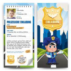Einladungskarten zum Kindergeburtstag als Polizei Notizblock #geburtstag #einladung #geburtstagseinladung #kindergeburtstag #polizei #notizblock