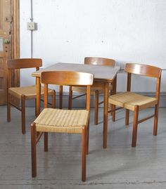 Danish Teak Table and Rope Chairs $695 - Chicago http://furnishly.com/catalog/product/view/id/5047/s/danish-teak-table-and-rope-chairs/