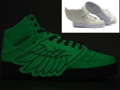 hot sales 5bdcc f61e8 Adidas ObyO Jeremy Scott Wings White Glow In The Dark Shoes
