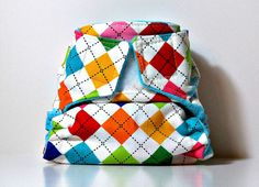 Argyle Remix Newborn All In Two Cloth Diaper by CatandWolfDesigns, $18.00