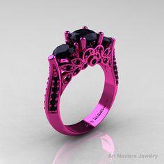 Classic 14K Pink Gold Three Stone Black Onyx Black Diamond Solitaire Engagement Ring, Wedding Ring R200-14KPGBDOX