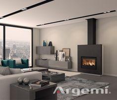 Chimeneas modernas modelo Vinson con recuperador de calor de altas prestaciones #chimeneas #modernas #diseño #obra #leña #insertables